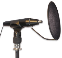 MM4 Microphone in a Mic Holder With a Lindos Pop-Shield Attached